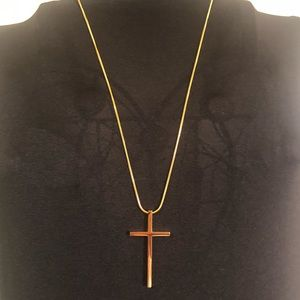 18K gold plated, Phil 4:13, cross necklace.